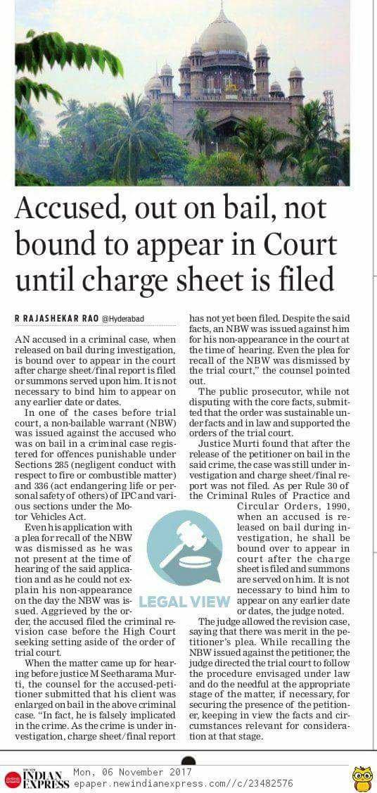 Accused-out-on-bail-not-bound-to-appear-in-Court-untill-charge-sheet-is-filed